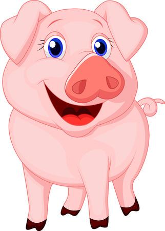 cute: Cute dibujos animados de cerdo Vectores