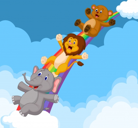 Cartoon Animals Sliding Down a Rainbow