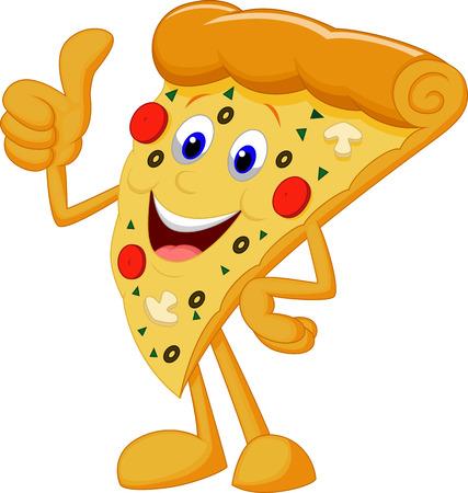 Gelukkig pizza cartoon met duim omhoog