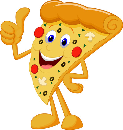 Happy pizza cartoon with thumb up Reklamní fotografie - 22637635