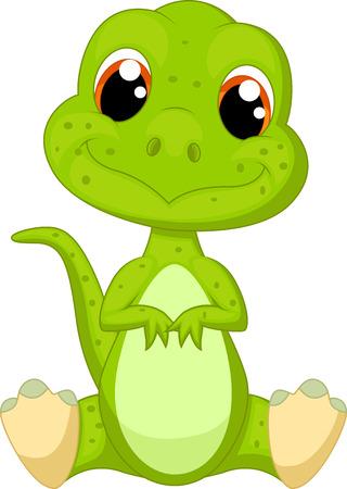 恐竜: かわいい緑の恐竜の漫画