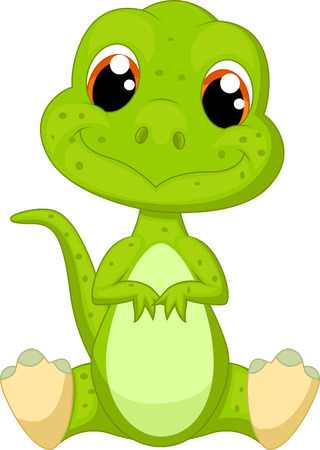 the red dragon: Cute green dinosaur cartoon
