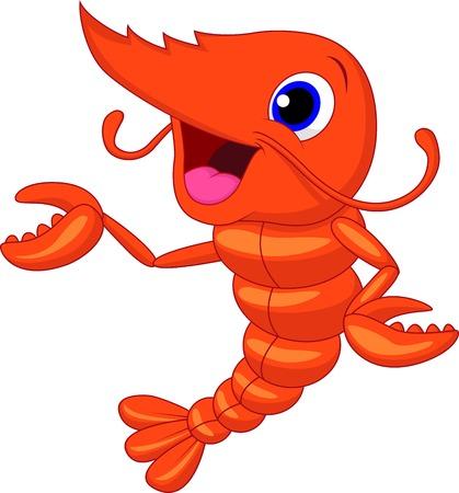 pincers: Cute shrimp cartoon presenting  Illustration