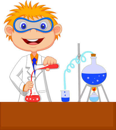 scientists: Boy cartoon doing chemical experiment