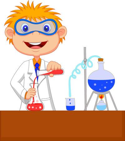 investigador cientifico: Dibujos animados Chico haciendo experimento químico
