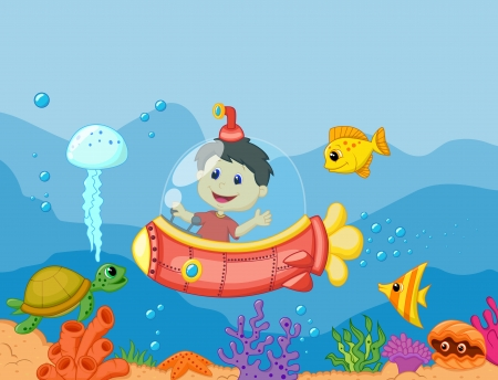 bubble sea anemone: Cartoon a kids in the submarine