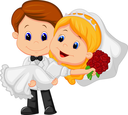 lift and carry: Cartoon Kids Playing Bride and Groom