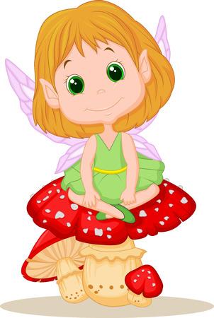 fairytale character: Cute fairy cartoon sitting on mushroom