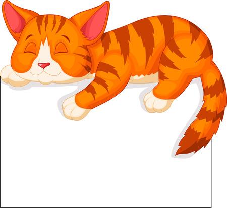 Cute dibujos animados gato durmiendo Foto de archivo - 22731608