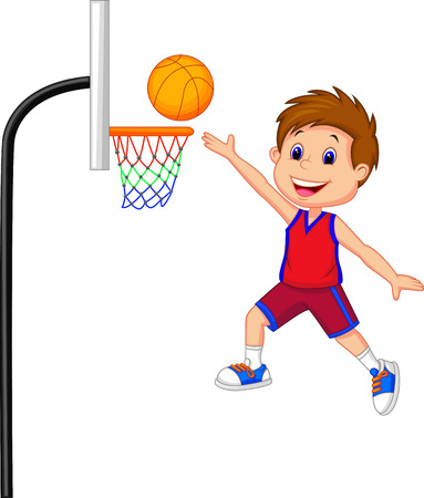 hand baskets: Cartoon boy playing basket ball