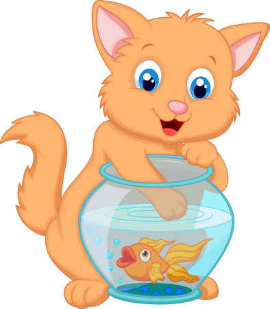 cat fish: Cartoon Kitten Fishing for Gold Fish in an Aquarium Bowl