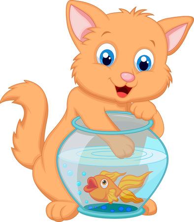 Chaton de bande dessinée de pêche pour les poissons d'or dans un aquarium Bowl