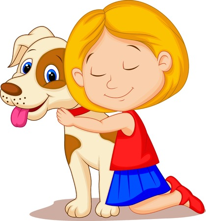 Lovely cartoon little girl hugging pet dog with passion