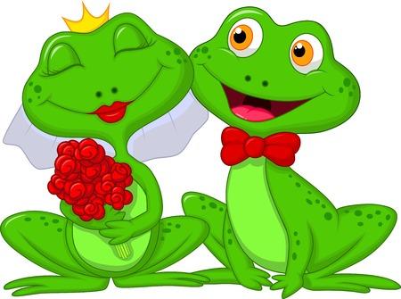 leapfrog: Novia y novio ranas personajes de dibujos animados