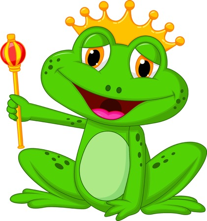 Frog king cartoon  Ilustrace