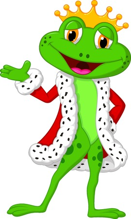 Cute king frog cartoon presenting