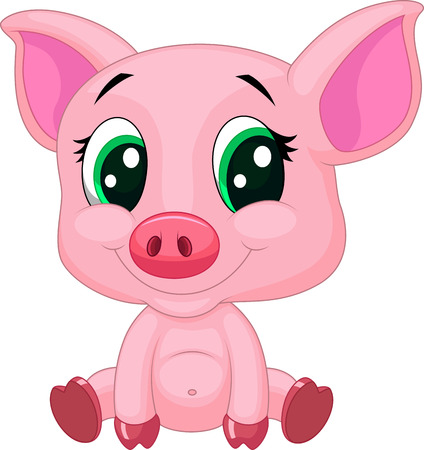 swine: Cute baby pig cartoon  Illustration