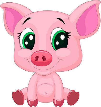 Historieta linda del bebé del cerdo Ilustración de vector