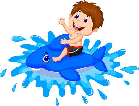 嬰兒: 卡通男孩騎玩具游泳