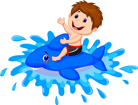 Cartoon jongen rijden zwemmen speelgoed