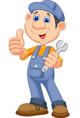 handy man: Carino meccanico cartone animato holding a chiave e dando il pollice in su Vettoriali