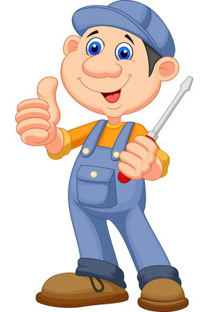 plumbers: Cute mechanic cartoon holding a screwdriver and giving thumbs up