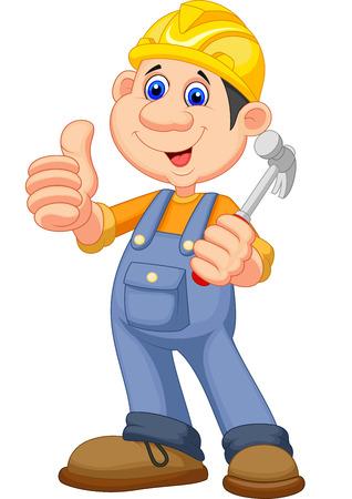 Cartoon Construction worker repairman  Vectores