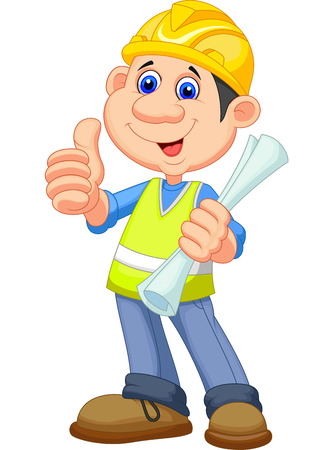 Cartoon Construction worker repairman  Vector