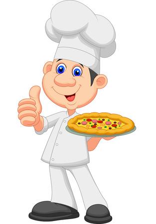 sabroso: Chef de dibujos animados con la pizza Vectores