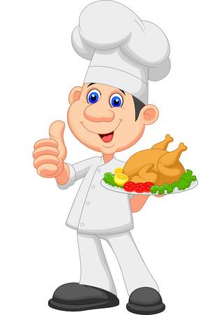 illustration of food: Chef de dibujos animados con el pollo asado