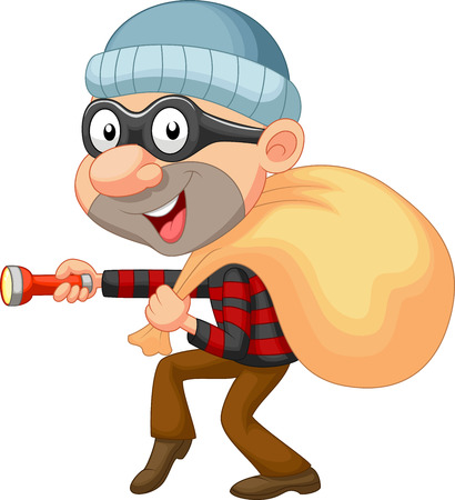 Thief cartoon with sack of money  Vector