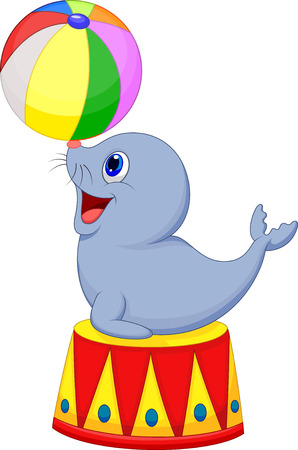 animales de circo: Circo de dibujos animados sello jugar una bola Vectores