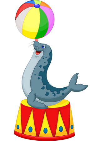 Circus seal cartoon playing a ball  Illustration