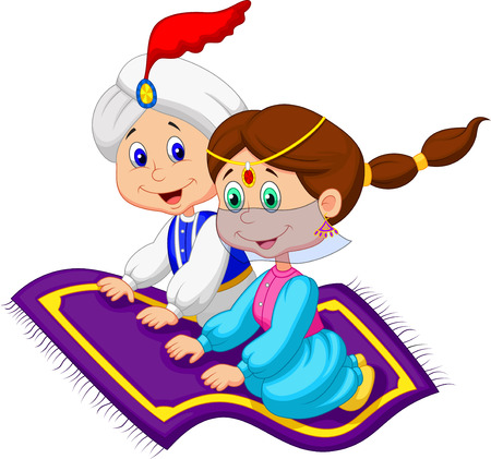 Cartoon Aladdin on a flying carpet traveling
