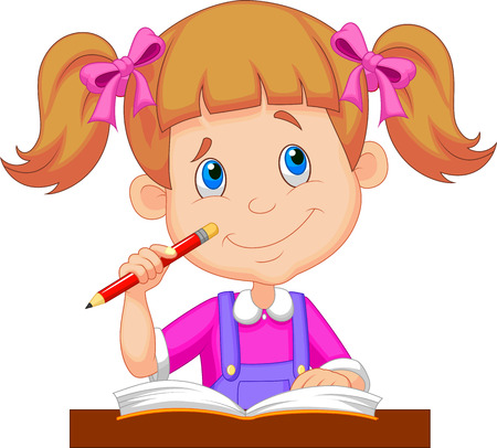 child school: Little girl cartoon studying