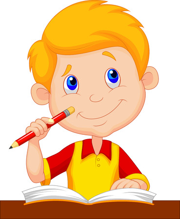 Little boy cartoon studying  向量圖像