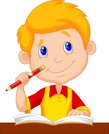 contemplating: Little boy cartoon studying  Illustration