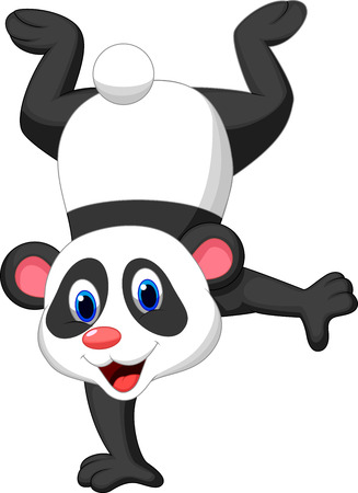 crazy: Panda cartoon standing on his hand  Illustration