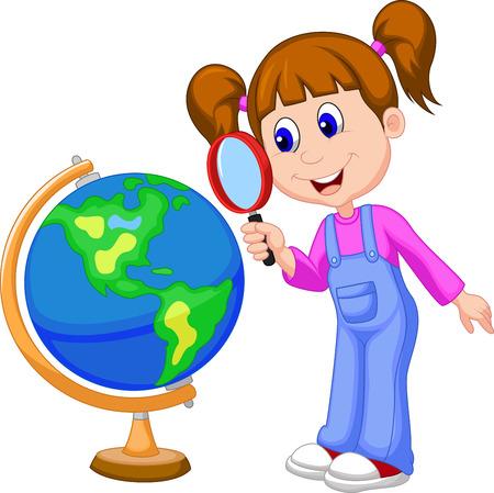 Cartoon meisje met vergrootglas te kijken naar globe