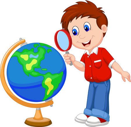 magnify: Cartoon boy using magnifying glass looking at globe