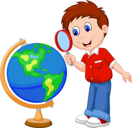 Cartoon jongen met vergrootglas te kijken naar globe