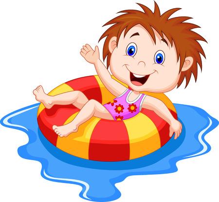 buiten sporten: Cartoon Meisje drijvend op een opblaasbare cirkel in het zwembad