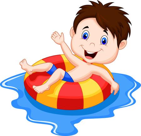 Muchacho de la historieta que flota en un círculo inflable en la piscina