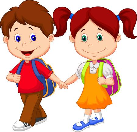 children: Счастливый мультфильм дети приходят с рюкзаками