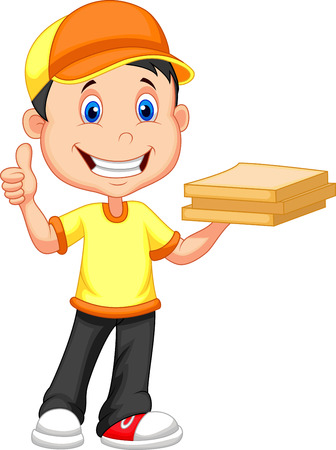 buen servicio: Cartoon muchacho de salida que trae un rect�ngulo de la pizza de cart�n