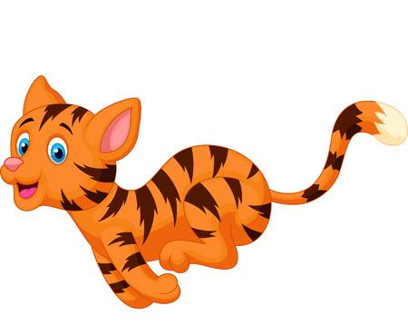 cute cat cartoon: Cute cat cartoon running  Illustration