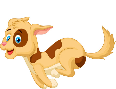 Cute dog cartoon running  Vector