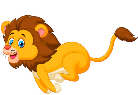 Cute lion cartoon running  Vector