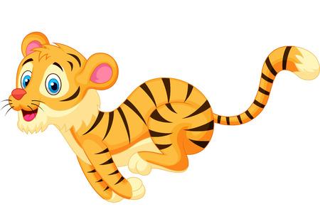 Cute tiger cartoon running  Illustration