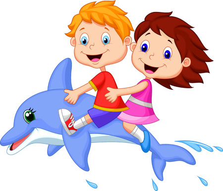 delfin: Cartoon Chłopiec i dziewczynka jazda delfina Ilustracja